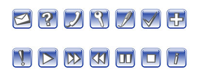 Set of vector icons #3. Set of 14 vector icons. Blue Stock Photo