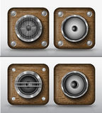 Set of vector icons applications of wood Royalty Free Stock Photos