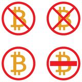 Vector icons of bitcoin crypto currency symbols. Set of vector icons of bitcoin crypto currency symbols . Stop Bitcoin. It is forbidden cryptocurrency. Red Stock Photos