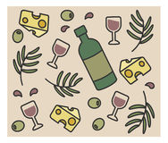 Set of vector icons, bottle wine, olives, cheese, Royalty Free Stock Photography