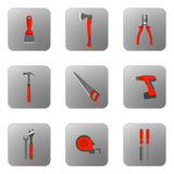 Set vector icons of building tools with orange handle. Illustration Royalty Free Stock Image