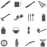 Set of vector icons with camping equipment and acc vector illustration