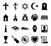 Set of vector icons cemetery and funeral and a funeral accessories Royalty Free Stock Images