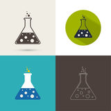 Set of vector icons with chemical flask Stock Photo