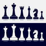 Icons of chess pieces. Set of vector icons of chess pieces. Their names queen, king, rook, bishop, knight, pawn. Black and white Stock Photography