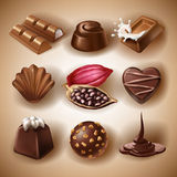 Set of vector icons of chocolate desserts and candies, liquid chocolate and cocoa beans. In a realistic style. Print, template, design element for packaging and Stock Images