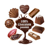 Set vector icons of chocolate. Set of vector icons of chocolate, liquid chocolate and cocoa beans Royalty Free Stock Photos