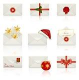 Set of vector icons: Christmas envelopes. Set of celebratory icons: Christmas envelopes. Vector illustration Stock Photos