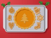 Gingerbread on oven pan. Set of vector icons of Christmas ginger bread cookies on oven-tray. Gingerbread men and star, bell and other holiday symbols, baked by Royalty Free Stock Photography