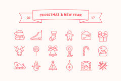 Set of vector icons for Christmas and New Year. Collection of vector thin line icons for Christmas and New Year holidays Royalty Free Stock Photos