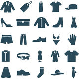 Set vector icons clothes and accessories. Stock Photos