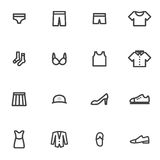 Set of vector icons  clothing, lingerie, accessories, shoes, clothes on a light background Stock Images