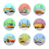 Set of Vector Icons with Construction Machines Stock Images