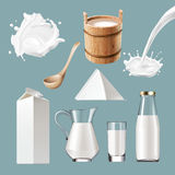 Set vector icons of dairy products, splashes. Set of vector icons of dairy products, dairy splashes. Realistic style Stock Photo