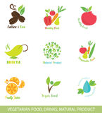 Set of Vector Icons and Design Elements for Organic Food. Stock Image