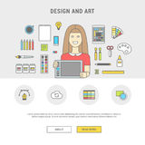 Set of vector icons for designer girl and accessories for design Stock Photo