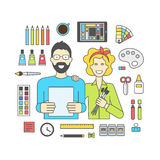 Set of vector icons for designers and accessories for design Royalty Free Stock Photos