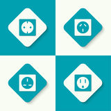 Set of vector icons electrical sockets. Of different standards. Mobile and web applications. flat design Stock Image