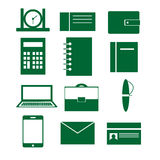 Set of vector icons with elements of business, work and office Stock Photo