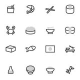 Set of vector icons elements  Japanese cuisine, sushi, rolls, seafood and Asian food Stock Photos