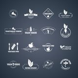 Set of vector icons and elements for organic food Stock Photos