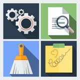 Set of vector icons flat with gears, a magnifying Stock Images