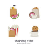 Set of vector icons flat with shopping bags. Set of vector icons flat with foods for the web stock illustration