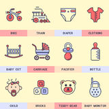 Set of vector icons in the flat style. Royalty Free Stock Images