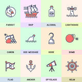 Set of vector icons in flat style. Royalty Free Stock Photography