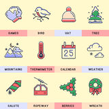 Set of vector icons in the flat style. Winter vacation and holidays Royalty Free Stock Image