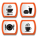 Set of vector icons with food Royalty Free Stock Photo