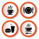 Set of vector icons with food Stock Photo