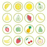 Set of vector icons, fruits stickers. Cartoon fruits, berries and vegetables icons, labels. vector illustration Stock Image