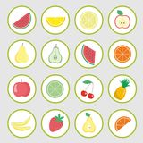 Set of vector icons, fruits stickers. Cartoon fruits, berries and vegetables icons, labels. Set of vector icons, fruits stickers.vector illustration Royalty Free Stock Images