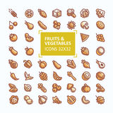 Set of vector icons of fruits and vegetables in the style of a thin line, editable stroke vector illustration