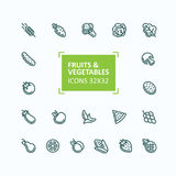 Set of vector icons of fruits and vegetables in the style of a thin line, editable stroke Royalty Free Stock Photo