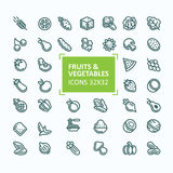 Set of vector icons of fruits and vegetables in the style of a thin line, editable stroke. 32x 32 perfect pixel vector illustration