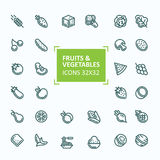Set of vector icons of fruits and vegetables in the style of a thin line, editable stroke Royalty Free Stock Photos