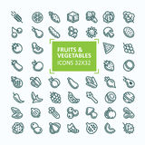 Set of vector icons of fruits and vegetables in the style of a thin line, editable stroke Stock Photos