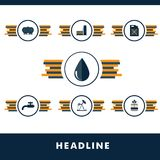 Set vector icons of fuel and petroleum industries Stock Image