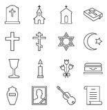 Set of vector icons of funeral and cemetery royalty free illustration