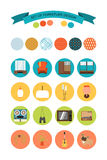 Set of vector icons of furniture and accessories in the style of 70's. Set of icons of the seventies. Stock Image