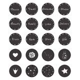 Set of 20 vector icons in gorgeous black and white style. For scrapbooking, bullet journalling, social networks, etc. Set including 12 icons with sparkle frame stock illustration