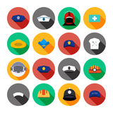 Set of vector icons of hats. Stock Photos