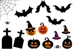 Set of vector icons and images of bats and pumpkins with hat vector illustration