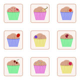 Set of vector icons with images of cupcakes. Colorful cute cartoon muffins. Set of vector icons with images of cupcakes. Colorful cute cartoon muffins Stock Photography