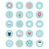 Set of 20 vector icons including sweets for patisserie. Set of 20 vector icons including sweets for your patisserie business, scrapbooking, bullet journalling royalty free illustration