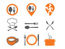 Set of vector icons of kitchen equipment, crockery and cook. Stock Image
