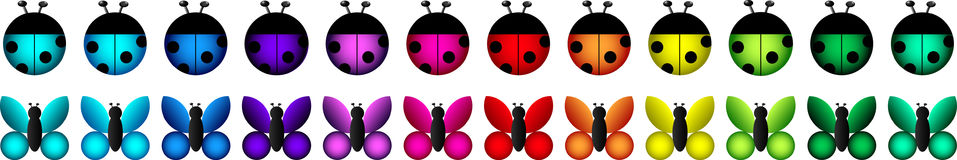 A set of vector icons - ladybugs and butterflies i Royalty Free Stock Photo