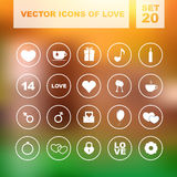 Set of vector icons for love. Set of colored vector icons of love. Vector illustration. Valentine's Day Stock Illustration